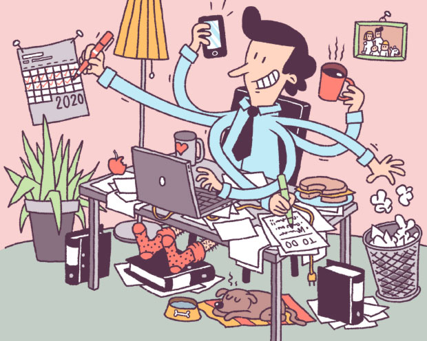Multitasking im Homeoffice in Zeiten von Covid-19. Illustration von Jan-Hendrik Holst.