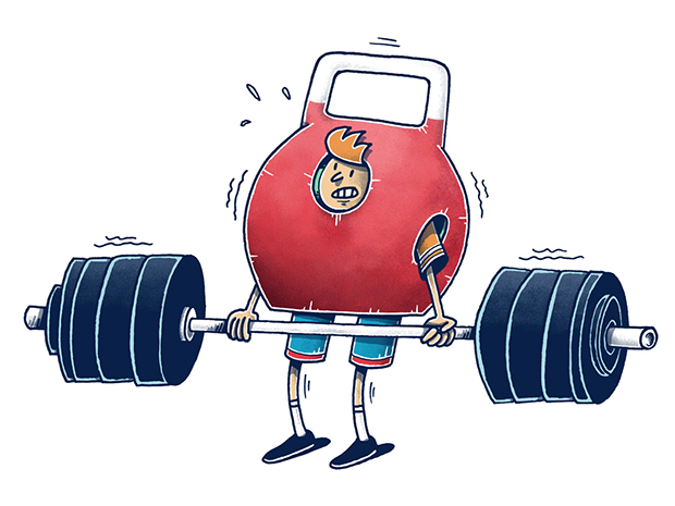 Current sport status: never heavy enough… Illustration von Jan-Hendrik Holst