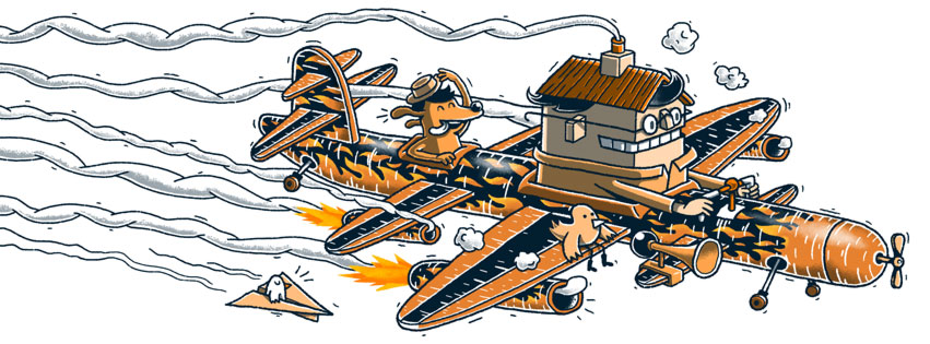 Der wilde Flieger. Illustration von Jan-Hendrik Holst
