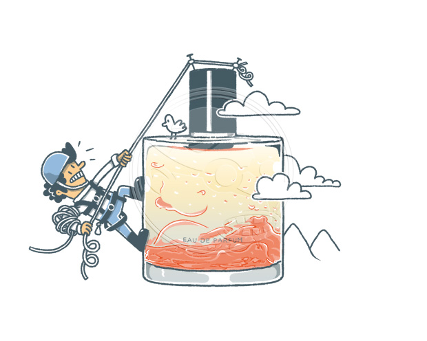 Cloud Collection von Zarko Perfume. Reise in die Berge. Illustration von Jan-Hendrik Holst für das FAZ Magazin.